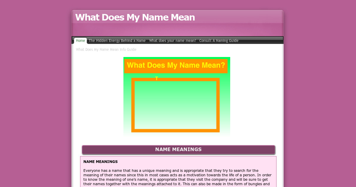 What Does My Name Mean Consult A Naming Guide